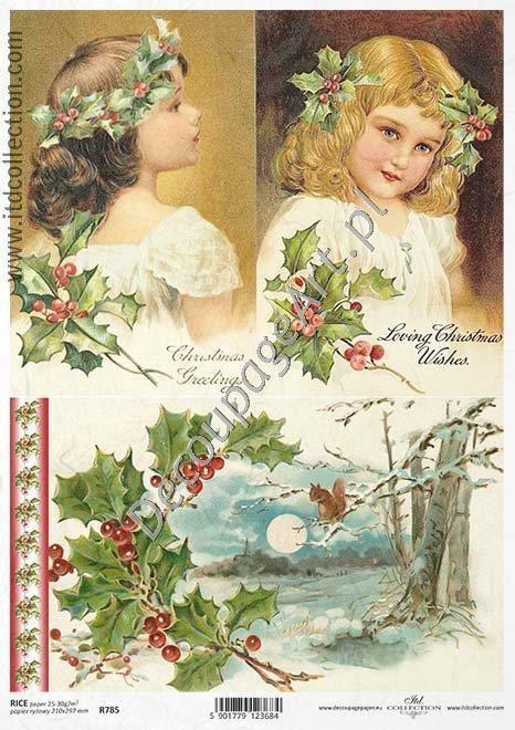 Papier ryżowy ITD Collection 785 - Zimowe dziewczynki Papier do decoupage - sklep DecoupageArt.pl
