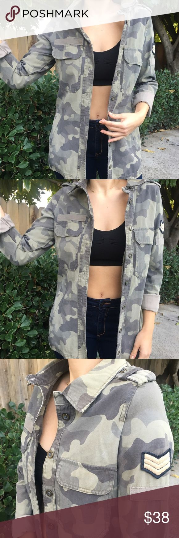Button down camouflage shirt / jacket Button down camouflage shirt / jacket  with sleeve patch and pockets. Can fold sleeves or wear them long. Long enough to wear with leggings. Cotton On Jackets & Coats