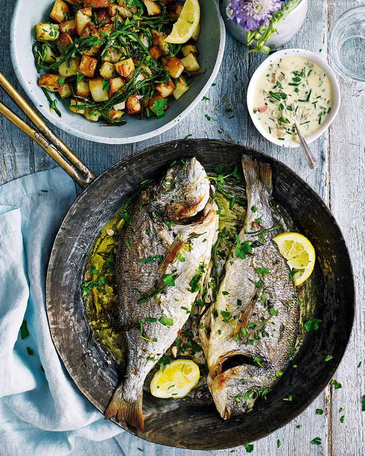 Say goodbye to the traditional roast chicken and hello to this alternative Sunday lunch. Sea bream is the hero of the dish – easily roasted and served with a creamy, wine-filled sauce. Your favourite side, the potato, is cooked till crunchy and topped with samphire. Bliss.