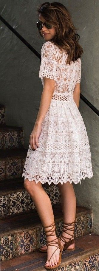 #summer #trendy #outfits |  White Lace Dress
