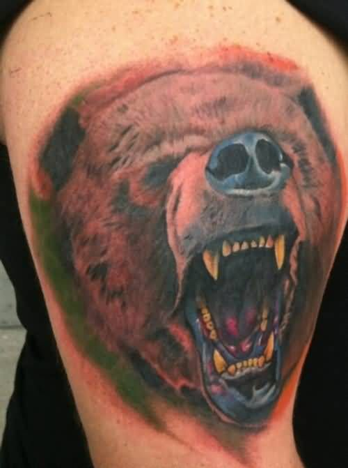 Aggressive Open Mouth Grizzly Bear Tattoo | Tattooshunter.com