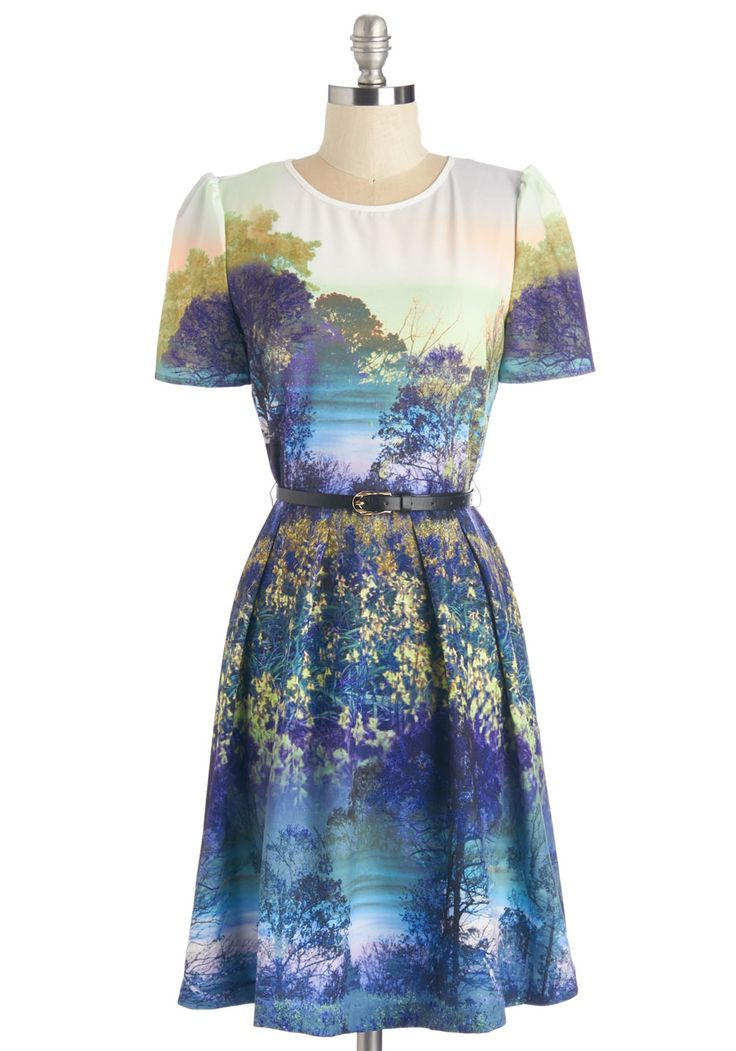 Never Never Landscape Dress. Dressed in the utopian print of this A-line frock, you're filled with the magic of nature! #blue #modcloth