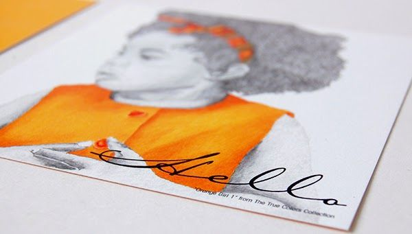 Orange Girl Hello Postcard Invitation Cards front back flat stationery invitation upclose
