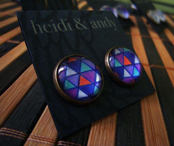 Hand Drawn Brass Stud EarringsDark blue by HeidietAndyShop on Etsy, $18.00