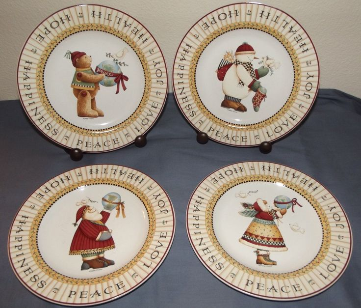 4 Debbie Mumm Joy to The World Christmas 8\  Salad Dessert Plates | eBay & 109 best Xmas Table and dishes images on Pinterest | Better homes ...