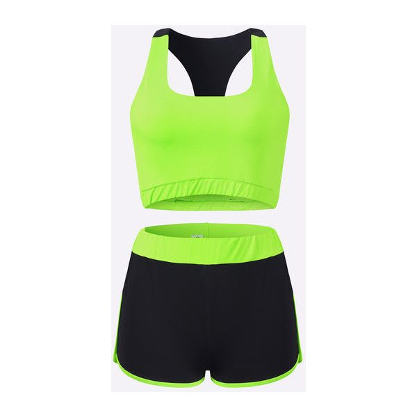 Yoins Casual Sleeveless Cami & Shorts Sport Tracksuit In Shinny Green ($19) ❤ liked on Polyvore featuring activewear, sports activewear, green camisole, sports tracksuits, green track suit and green tracksuit