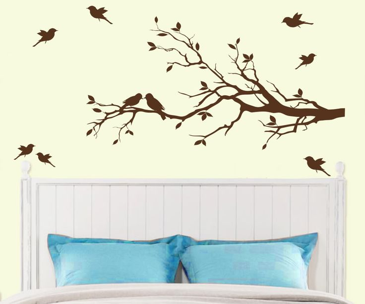 Delightful Tree Branch With 10 Birds Wall Decals Sticker Nursery Decor Art Mural   IN  DARK BROWN   Decals By Digiflare Graphics Breaker Deal