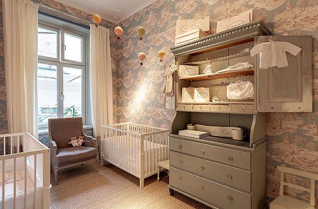 seagrass, blue armoire, simple crib, bergere, and toile wallpaper