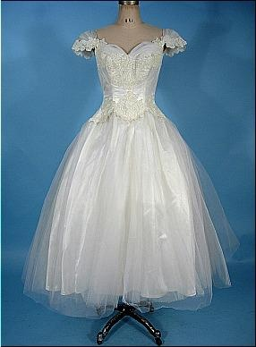 c. 1950's Wedding Dress of Ballet Length with Off-the-Shoulder Look Bodice of Lace and Tulle