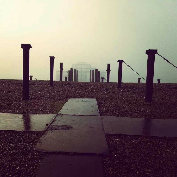 The west pier on a foggy morning