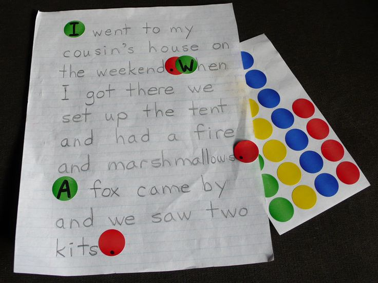 Capitals and Periods lesson using green and red stickers