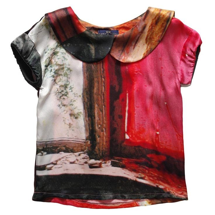 Printed Silk Blouse with Peter-Pan Collar - Roma e Toska