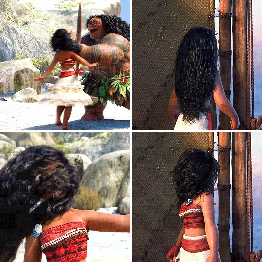 "«""moana"" Hair motion» Via Art & Animation on facebook<<< GUYS. Disney has done it! Realistic, annoying hair!!!"