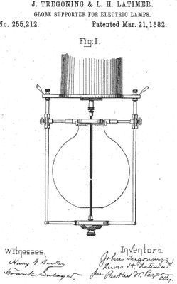 Patents Belonging To Lewis Howard Latimer: Lewis Howard Latimer - Globe supporter for electric lamps