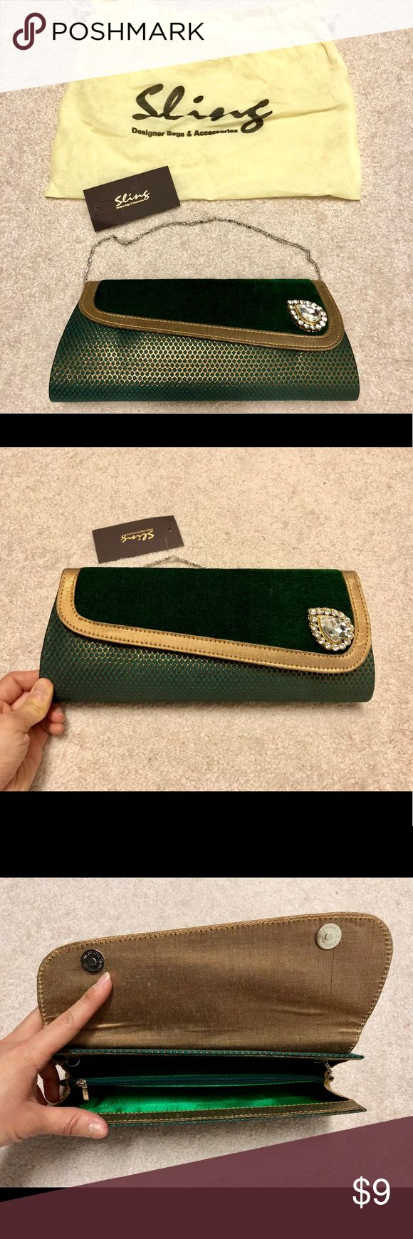 NWT Velvet Green and Gold Clutch Bag Moving Sale!  Beautiful valves green and gold clutch evening bag with rhinestone decoration.  Brand new with tag!  Middle compartment inside. Lined with gold fabric. Includes metal chain for shoulder. Magnetic closure.   Downsizing my closet for move. Please check out my other items for sale!  Lots of XS, S, 0, 00, 0P clothing for sale. Bundle, group, and save!  Thanks. Sling Bags Clutches & Wristlets
