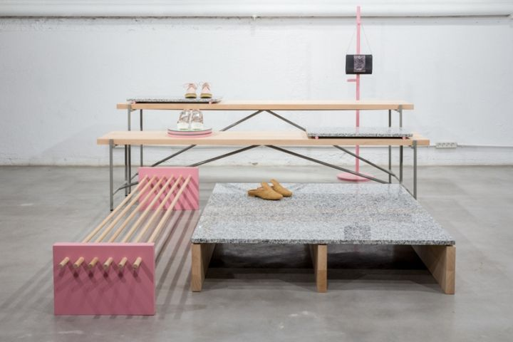 Pelonio presents showroom furniture collection for Spanish shoe label Mustang