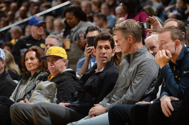 Bob Myers of the Golden State Warriors attends the game between the Santa Cruz Warriors and the Austin Spurs on January 28 2018 at Oracle Arena in...