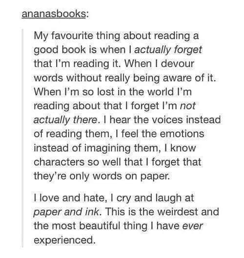 This is me with everything I read. I read everything in voices, narration usually being my own if it's in third person, and if my head doesn't trip me up with over thinking then the images are usually vivid too