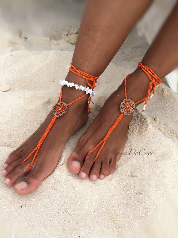 Orange crochet barefoot sandal-Boho sandals-Anklet-Sexy-Wedding barefoot sandals-Hippie sandals-Yoga sandels-Accessoires by LunaDeCoco