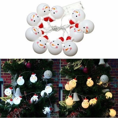 Snowman String Lights 10 LED 1.2M Christmas Tree Decoration Xmas Lamp Decor #Unbranded