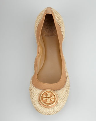 Tory Burch camel and nude flats.
