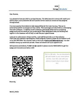 Biology Welcome letter for parents