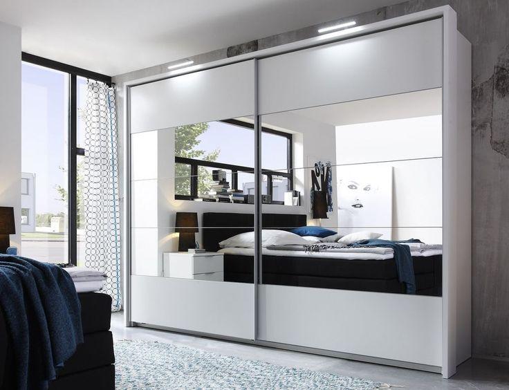 Great Details zu Schwebet renschrank PENTA Kleiderschrank Schrank Schlafzimmer Wei mit Spiegel
