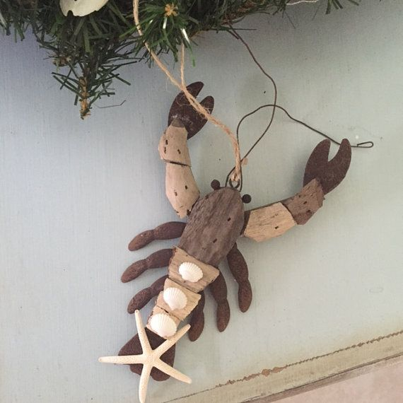 Beach Decor Driftwood & Shell Lobster Ornament by LiveCoastal