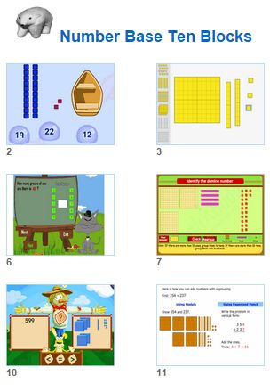 Math Number Base Ten Blocks Activities for kids and their teachers from Johnnie's Math Page