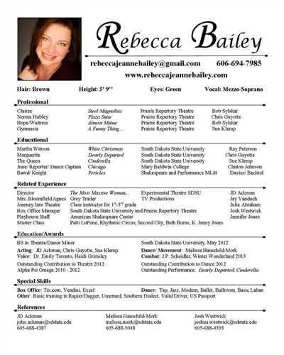 sample acting resume beginning actor film theatre images samples arts