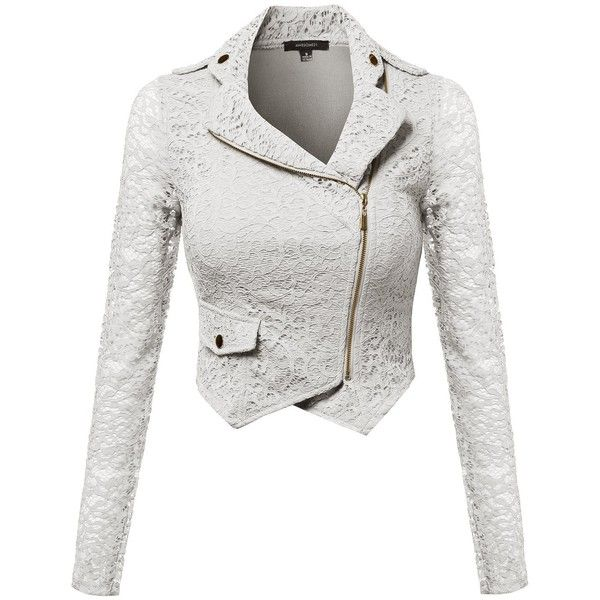 Awesome21 Women's Gorgeous Lace Delicate Short Blazer Jacket with... (€27) ❤ liked on Polyvore featuring outerwear, jackets, blazers, lace blazer, zip jacket, zipper blazer, lace blazer jacket and zipper jacket