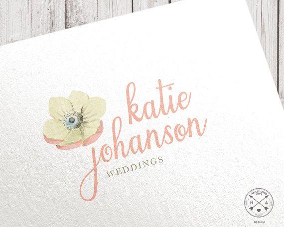 Premade logo   watercolor anemone flower logo design   for wedding photographer blogger studio shop craft blogging photography branding