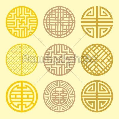Abstract Art geometric grid   Round grid Symbol sets. Geometric Pattern Design. Korean - Background ...