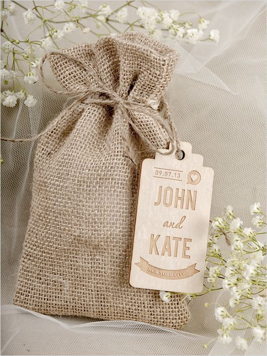 Custom burlap wedding favor bags with wooden tags. Favors: For Love Polka Dots
