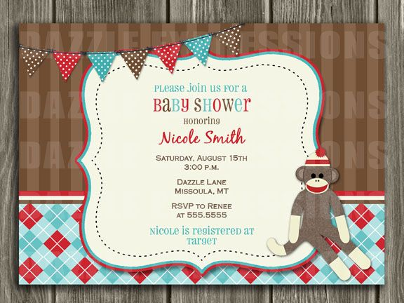 printable sock monkey baby shower invitation free thank you card