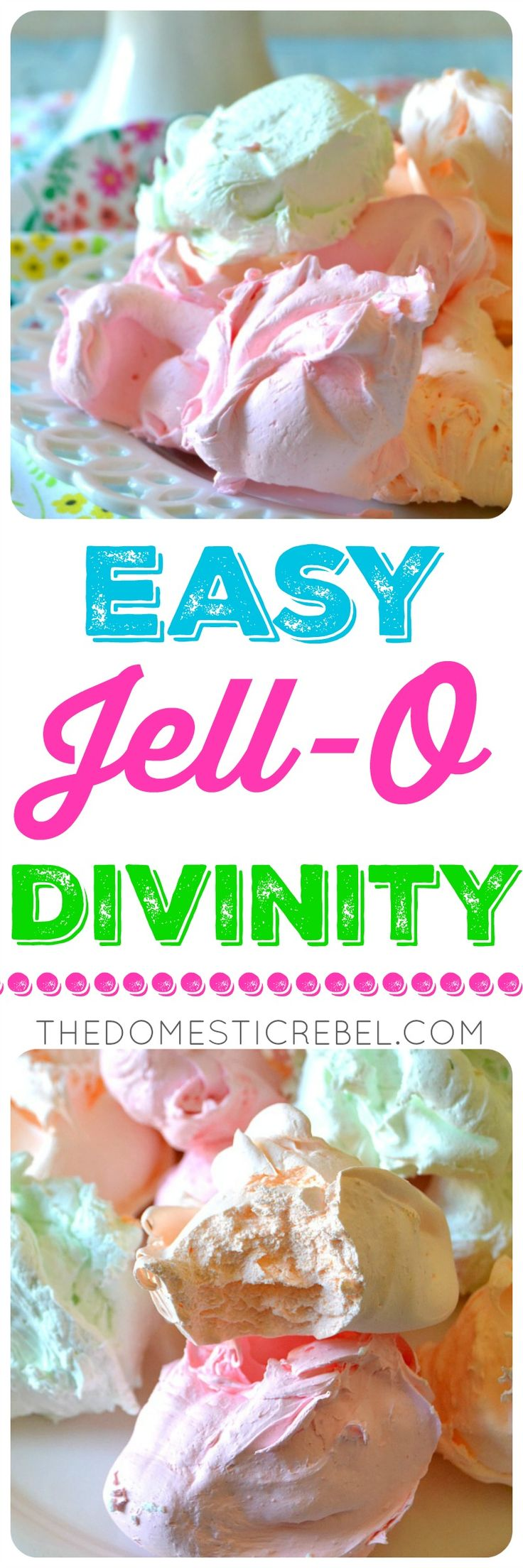 This EASY JELL-O DIVINITY is so simple to make with my step-by-step recipe! Fruity-flavored and pastel-colored divinity candy made with Jell-O. Light, surprisingly fudgy and nougat-y candy in flavors of the rainbow! Great for Easter, or springtime!
