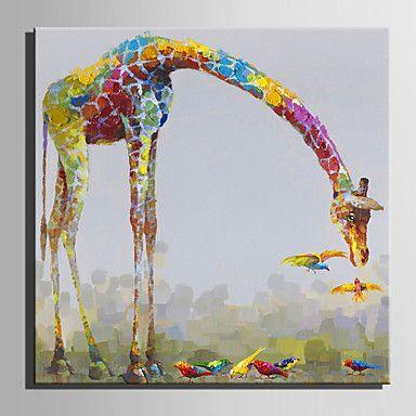 【今だけ☆送料無料】現代 アートなモダン キャンバスアート アートパネル 動物画1枚で1セット パステル キリン 小鳥 仲良し【納期】お取り寄せ2~3週間前後で発送予定