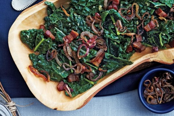 For your next Sunday supper, try our kale and pancetta with crispy shallots side dish.Kale's never looked so good! Photo by Jeff Coulson.