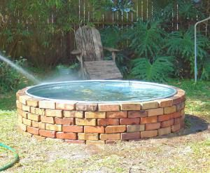homemade pools and ponds using a variety of resources, like this livestock water trough.