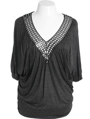 Plus Size Diva V-Neck Sparkle Silver Blouse     $33.99