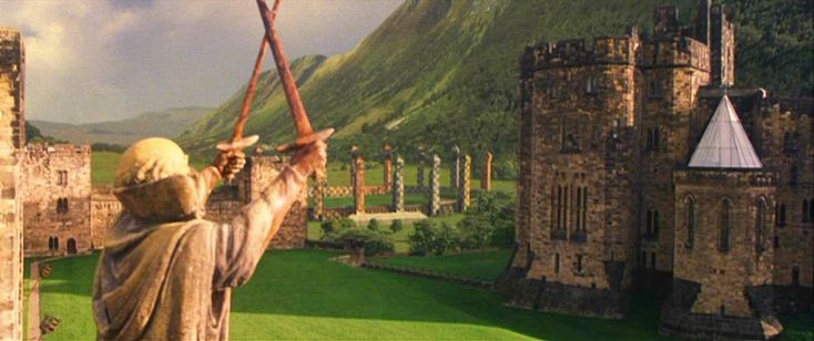 The Outer Bailey was used for the scene of Harry's first flying lesson in The Philosopher's Stone - and for his first Quidditch training with Oliver Wood!