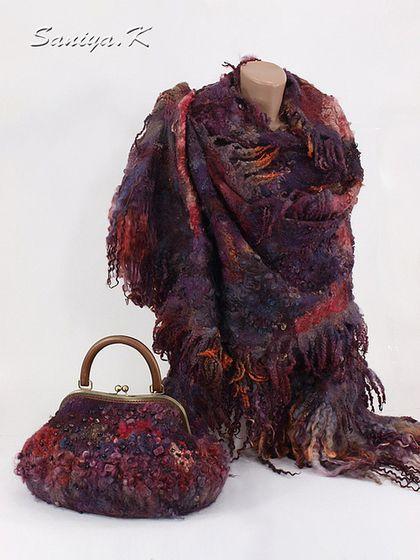 """Сумка & шарф """"Алэйне"""" бордовые - купить бордовую сумку,купить сумку бордовую"""
