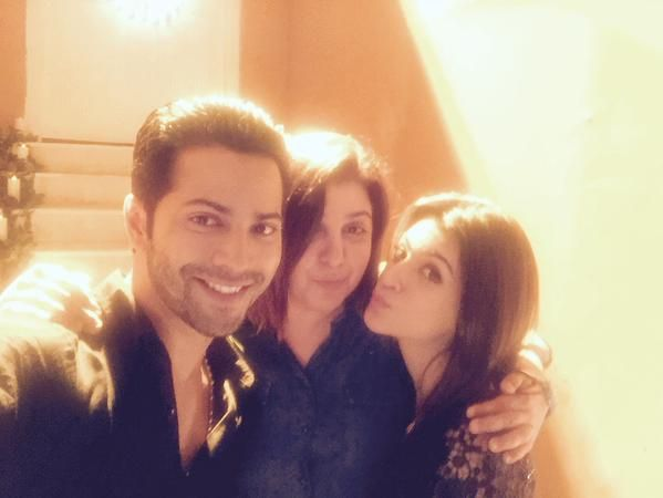"Farah Khan on set with Varun Dhawan and Kriti Sanon for their upcoming movie ""Dilwale."""