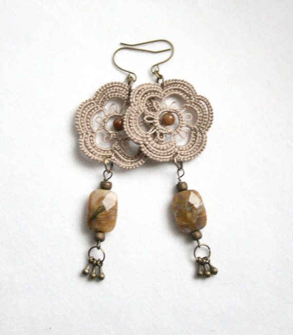 Linen Flower Tatting Lace Beaded Dangle Earring by KnotTherapy