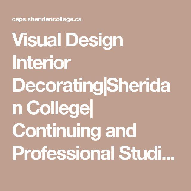 Visual Design Interior Decorating Sheridan College  Continuing and Professional Studies   Sheridan College