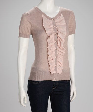 Take a look at this Khaki Ruffle Short-Sleeve Sweater by YAL on #zulily today! $24.99, regular 56.00