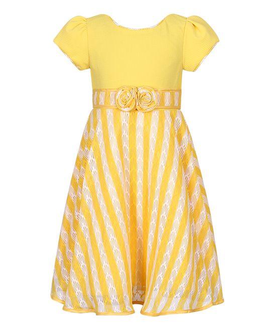 Yellow & White Stripe Party Dress - Toddler & Girls