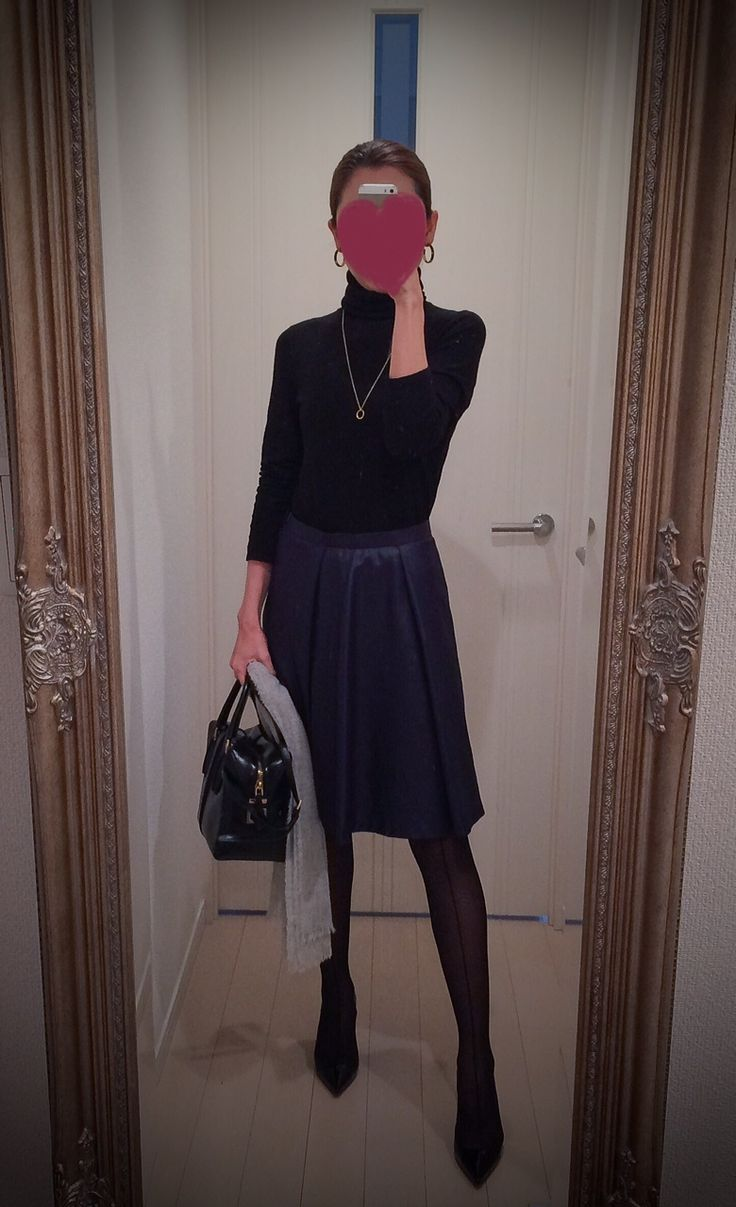 Black turtleneck with blue skirt and black bag and heels - http://ameblo.jp/nyprtkifml