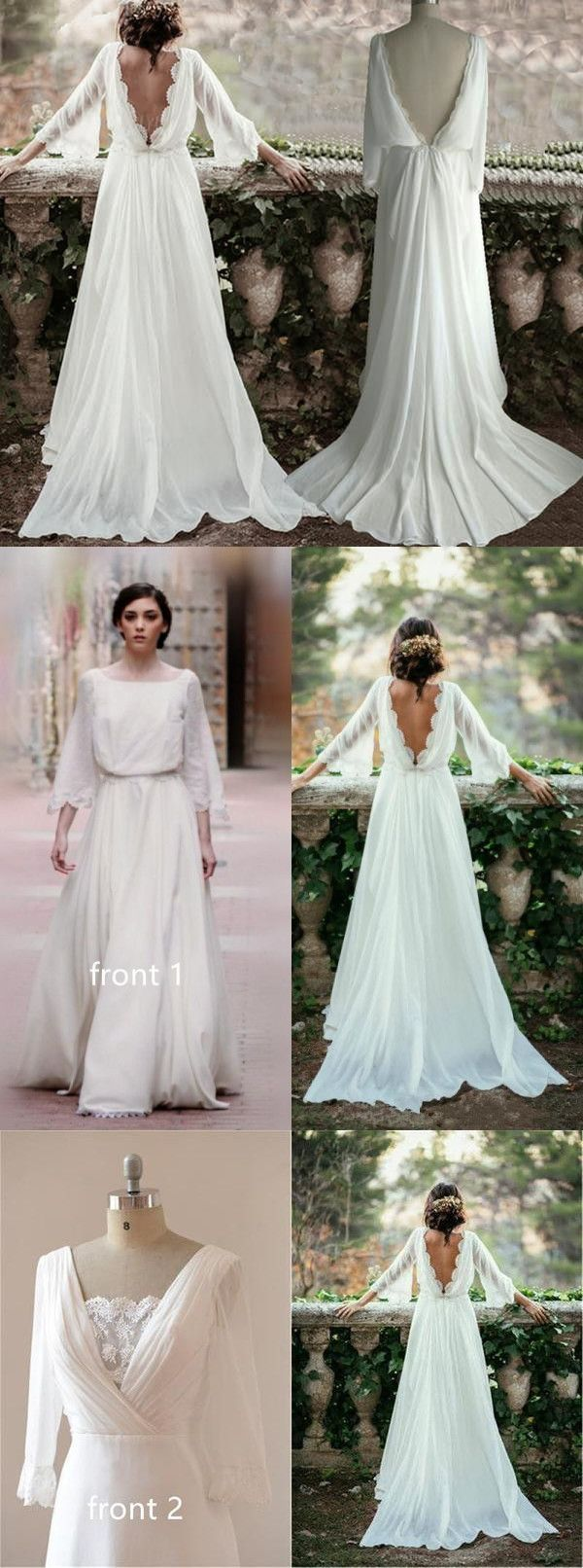Antique cream wedding dress  Lace Backless Wedding DressVintage Wedding DressLong Sleeve Bridal