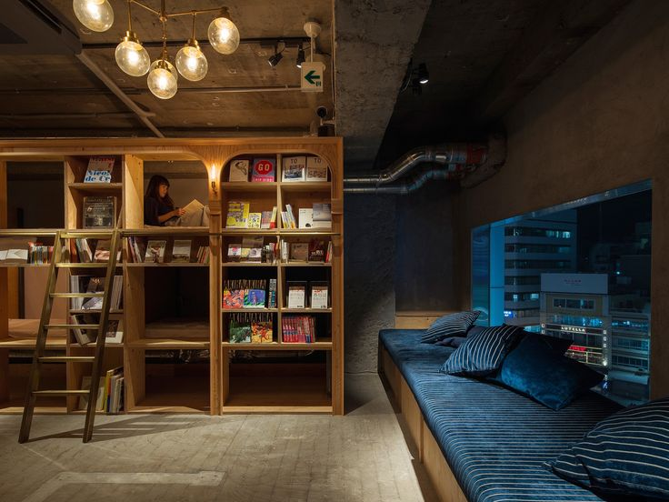 Curl up in a classic Japanese capsule hotel with a bookish twist.